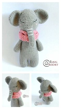 Free Crochet Elephant Pattern & many amigurumi elephant idea... Crochet Elephant Pattern, Crochet Motif, Crochet Toys, Free Crochet, Crochet Patterns, Crochet Ideas, Step By Step Crochet, Learn To Crochet, Free Pattern