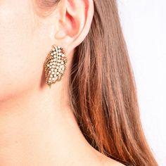 Mosaic Crystal Leaf Stud Earrings