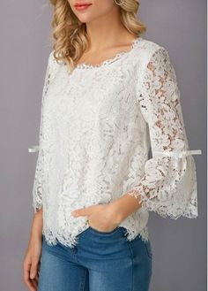 Flare Sleeve White Eyelash Lace Blouse on sale only US$31.58 now, buy cheap Flare Sleeve White Eyelash Lace Blouse at liligal.com