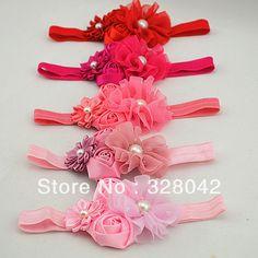 Nuevos colores llegada de la gasa de la flor con la perla de la venda cinta de raso flor de rose del doble vendas del bebé accesorios para el cabello 150 unids/lote