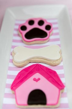 Cookies at a Pink Puppy Party Full of Darling Ideas Ideas via Kara's Party Ideas… Puppy Birthday Parties, Puppy Party, Dog Birthday, Birthday Party Themes, Birthday Cookies, Birthday Bash, Birthday Ideas, Adoption Party, Dog Cakes