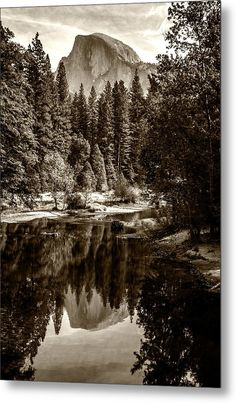 Half Dome And Merced River D1991 Metal Print featuring the photograph Half Dome And Merced River D1991 by Wes and Dotty Weber