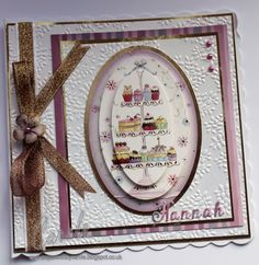 Birthday card made using Hunkydory Scrumptious Cakes topper with Centura Pearl Hint of Gold card embossed with Crafter's Companion A4 Delicate Floral embossing folder. Designed by Carole Davis #papercraftbycarole #hunkydory #crafterscompanion #centura