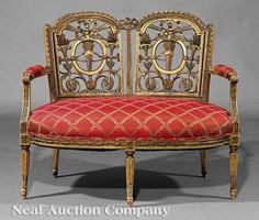 An Italian Neoclassical Carved Giltwood Settee, early 19th c