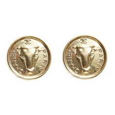 Chanel Bull Coin Earrings ($505) ❤ liked on Polyvore featuring jewelry, earrings, chanel earrings, coin earrings, chanel jewellery, coin jewellery and chanel jewelry