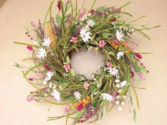 Summer wreaths, Summer door wreath, Mother's day, Wreaths for Door, Wispy, Daisies, Wildflowers, Pink and white, Floral wreath, Door decor