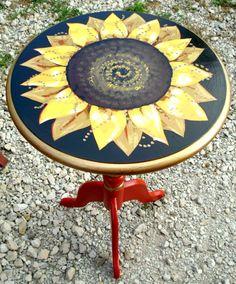 Handpainted sunflower on vintage table