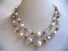 STUNNING VINTAGE ESTATE DOUBLE STRAND FAUX PEARL CRYSTAL BEAD NECKLACE!!! 3087G