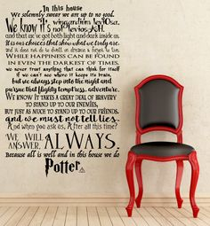 In this House We Do Potter, We do Harry Potter wall decal, Harry Potter quotes wall decal by ApareciumDesign on Etsy https://www.etsy.com/se-en/listing/268458218/in-this-house-we-do-potter-we-do-harry