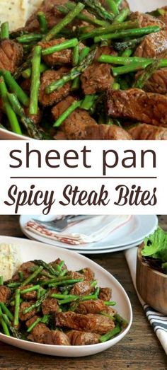 One Pan Broiled Spicy Steak Bites - 5 Dinners In 1 Hour broiled steak with asparagus on a sheet pan with mashed potatoes on the side Spicy Steak, Healthy Steak, Healthy Meats, Healthy Eating, Healthy Recipes, Steaks, Steak Breakfast, Steak Recipes, Steak Meals