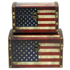 Salute your country with your decor choices. Dome Shaped American Flag Box Set will give your home or office the perfect amount of patriotic spirit all year lon Patriotic Bedroom, American Flag Wood, American Decor, Patriotic Decorations, Old Glory, Decorative Storage, Wood Boxes, Red White Blue, Hobby Lobby