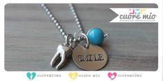 Smile! Lindo collar estampado a mano ideal para tu dentista favorito.     informes de venta aqui mismo ;)    www.cuoremio.com.mx