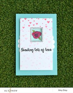 Sending lots of love by @aimesgray. Interactive card using @Altenew's Happy Mail stamp set  #stamping #interactive #interactivecard #flowers #love #friend #friendship #cardmaking