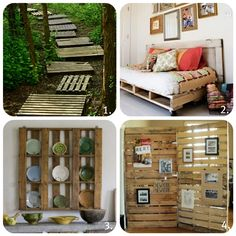 Pallet ideas... I like the bottom left idea for pictures.