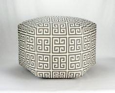 "24"" Floor Ottoman Pouf Pillow  Onyx Dark Grey on Natural - Towers Greek Key Contemporary Modern Print on Etsy, $143.91 CAD"
