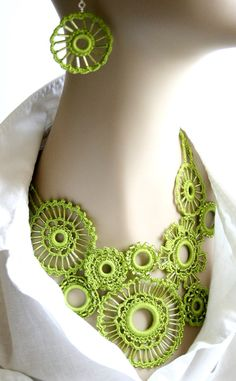 Green Crocheted Beaded Necklace Featured in by KnotTherapy on Etsy