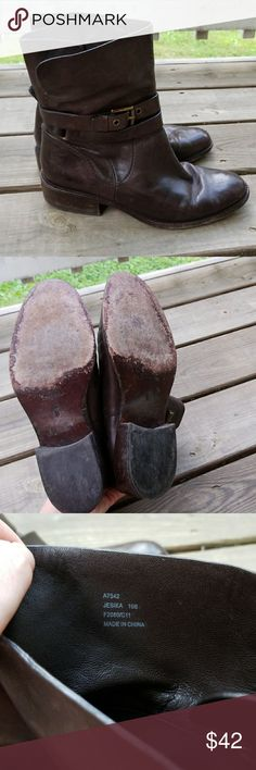 Coach Brown Leather Boots Coach brown soft leather boots. Pull on style. Good used condition. Size 10B (medium width) Coach Shoes Ankle Boots & Booties
