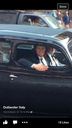Sam on his way to the Outlander Premier (I think Cait is in the back seat)