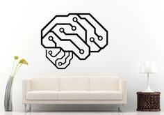 Neurelectric Brain Circuit Board Wall Decal Vinyl Sticker Mural Room Decor L1070