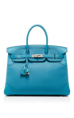 Hermes 35cm Turquoise Ghillies Birkin by HERITAGE AUCTIONS SPECIAL COLLECTION for Preorder on Moda Operandi