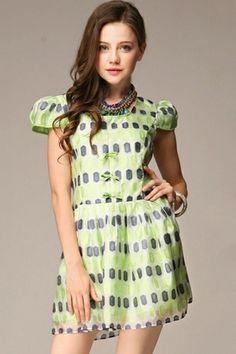 Jacquard Bowknot Trim Dress OASAP.com