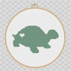 Turtle Silhouette Cross Stitch PDF Pattern 002 by kattuna on Etsy, $3.50