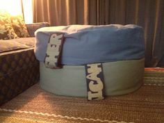 """Latest DIY... Beanbags.  Bc I had the material already they cost less than 20$ each. They measure 36"""" diam x 10"""" tall. Turn them on their side and they are a great seat. The names double as a handle."""