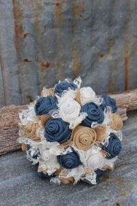 Navy Burlap and Lace Bride's Bouquets