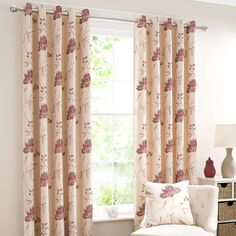 Red Amelia Lined Eyelet Curtains | Dunelm