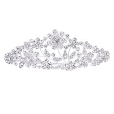 WINOMO Floral Rhinestone Hair Barrettes Hairband (Sliver) *** Details can be found by clicking on the image.