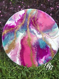 Unicorn Original artwork resin painting on solid pine 18x1 inch panel, suitable for wall hanging or table top. This painting was created by combining epoxy resin with various paints and pigments to produce layered and textured effect. Unicorn features pink, magenta, purple, teal,
