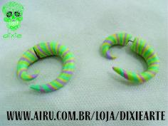 Falso Alargador Espiral Candy Color  www.airu.com.br/loja/dixiearte