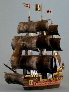Papercraft - Ship The Dark Promise 3d Paper Crafts, Cardboard Crafts, Paper Toys, Bateau Pirate, Free Paper Models, Printable Paper, Free Printable, Paper Ship, Graduation Party Decor