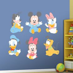 Baby Mickey and Friends REAL.BIG. Fathead – Peel & Stick Wall Graphic | Mickey Mouse, Minnie Mouse, Donald Duck, Daisy Duck, Goofy, Pluto Wall Decal | Disney Nursery