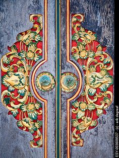 Traditional Balinese wood carved door