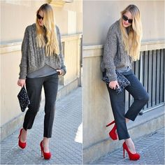 Gray and red (by Marta M) http://lookbook.nu/look/4582657-Gray-and-red
