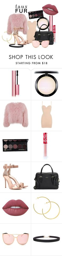 """Faux Fur"" by becca-dxxx ❤ liked on Polyvore featuring Too Faced Cosmetics, MAC Cosmetics, Charlotte Simone, Wolford, Lime Crime, Gianvito Rossi, Kate Spade, Quay, Humble Chic and outfit"
