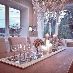 framed mirror as table runner
