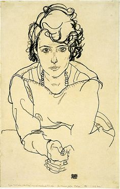 """Egon Schiele - """"Study Seated Woman"""" 
