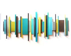 custom art by Rosemary Pierce.  Amazing large wall sculptures.  modern geometric abstract painted wood wall by RosemaryPierceArt