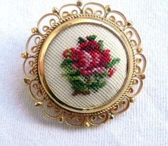 Vintage Needlepoint Brooch/ Pin Rose Flower Petit Point Design Jewelry