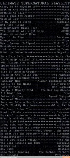 Supernatural playlist