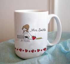 Valentine's Teacher Gift :: They get enough chocolate, how about a Custom Mug: Teacher Hearts - philoSophie's :: www.shopsophies.com
