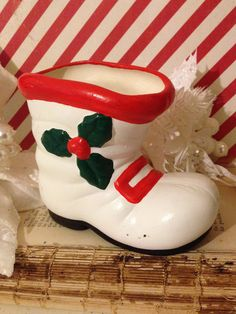 White Santa Boot Planter~ Vintage Christmas Decor, Kitschy Holiday Decor, Ceramic with Holly Leaves, Retro Christmas Table Top Display by ThePokeyPoodle on Etsy