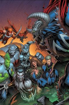 Image United #3 variant cover by Dale Keown. Witchblade, Ripclaw, Youngblood, Shadowhawk, Spawn and Savage Dragon team up.