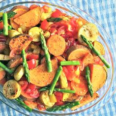 The best mixed veg: sweet potatoes, parsnips, carrots, asparagus, peppers, tomatoes  spicy jalapeño