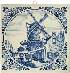"Delft Blue Tile, Windmill Scene with Fancy Border, 6"""