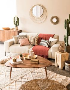Boho living room featuring Berber rug, bamboo mirror, mid century coffee table, houseplants and neutral colours Boho Living Room, Living Room Interior, Home Interior Design, Home And Living, Living Room Decor, Living Room Inspiration, Home Decor Inspiration, Living Room Designs, Vintage Coffee