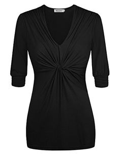 Ninedaily Women Blouse V Neck Pleated Front Half Sleeve Casual Top Black L ** Want to know more, click on the image.