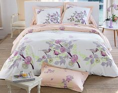 Linge de lit fleurs et oiseaux